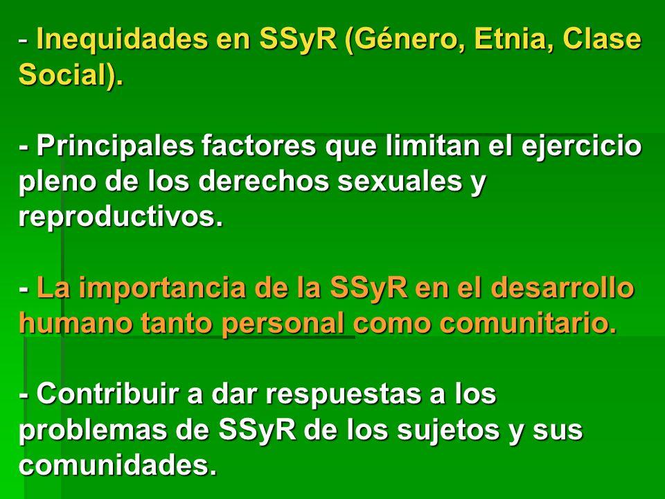 - Inequidades en SSyR (Género, Etnia, Clase Social). - Principales factores que limitan el ejercicio pleno de los derechos sexuales y reproductivos. -