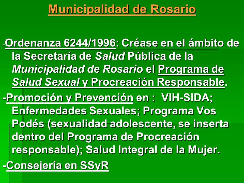 Municipalidad de Rosario - Ordenanza 6244/1996: Créase en el ámbito de la Secretaría de Salud Pública de la Municipalidad de Rosario el Programa de Sa