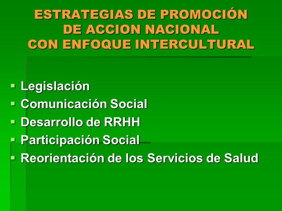 ESTRATEGIAS DE PROMOCIÓN DE ACCION NACIONAL CON ENFOQUE INTERCULTURAL Legislación Legislación Comunicación Social Comunicación Social Desarrollo de RR