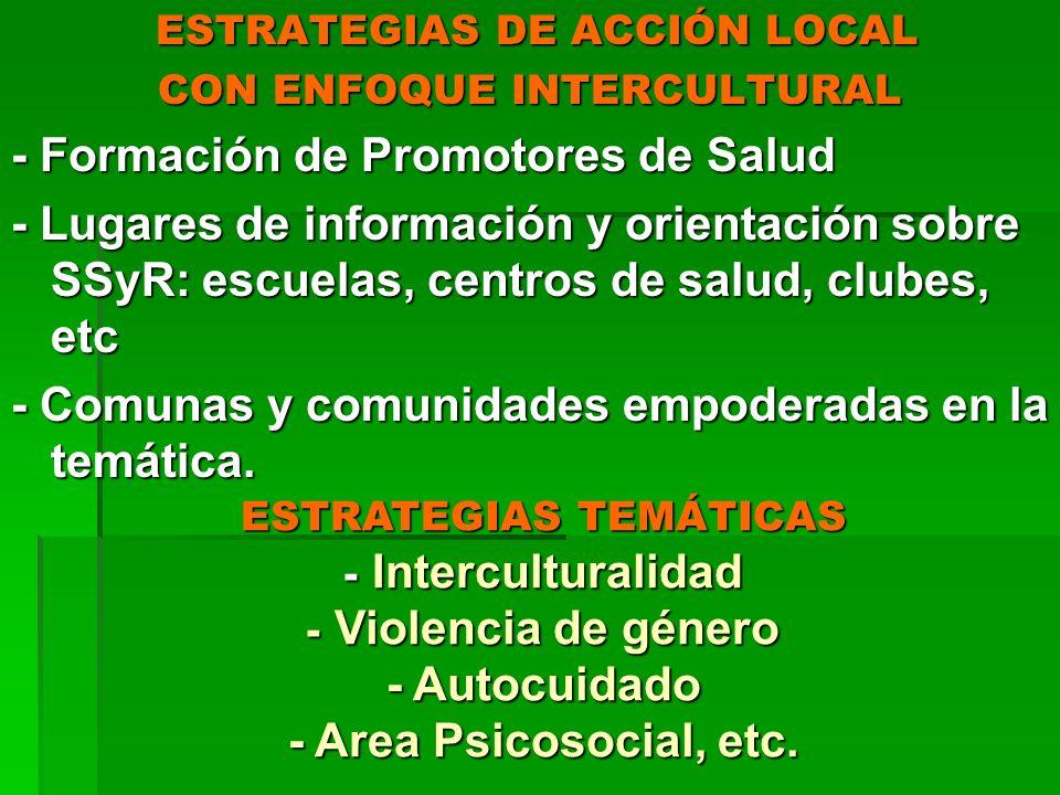 ESTRATEGIAS DE ACCIÓN LOCAL ESTRATEGIAS DE ACCIÓN LOCAL CON ENFOQUE INTERCULTURAL - Formación de Promotores de Salud - Lugares de información y orient