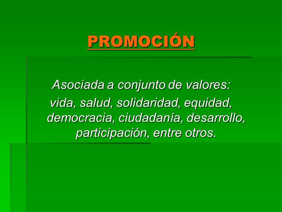 PROMOCIÓN Asociada a conjunto de valores: vida, salud, solidaridad, equidad, democracia, ciudadanía, desarrollo, participación, entre otros.