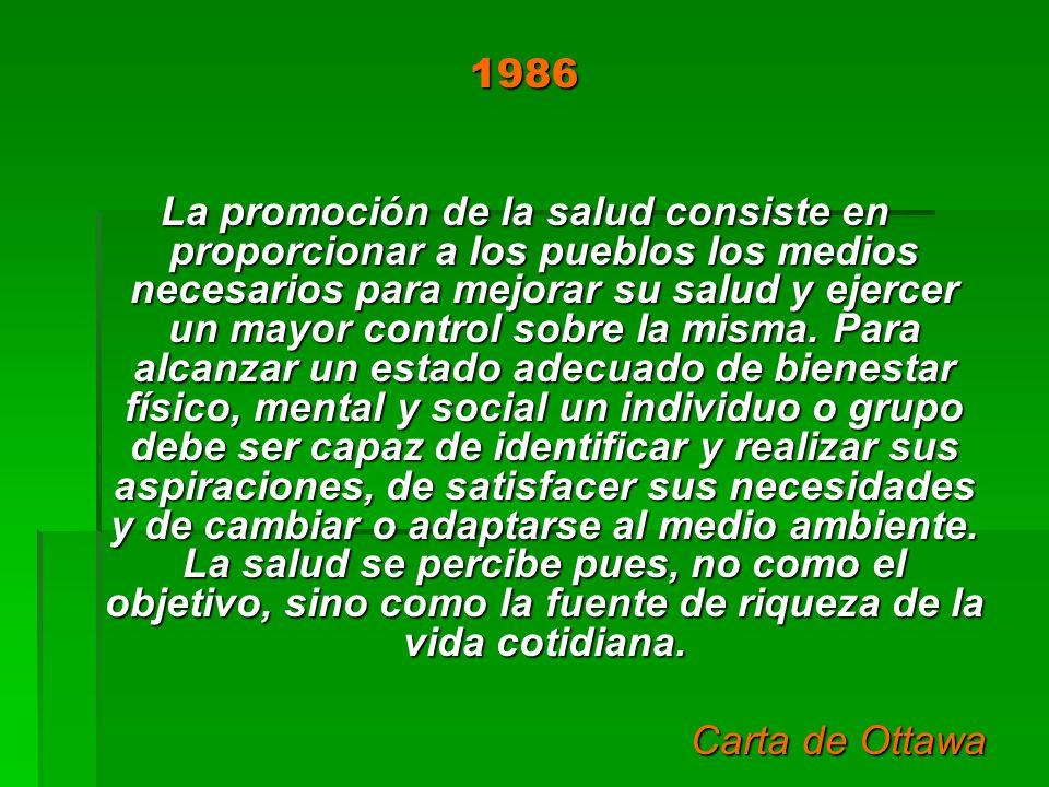 1986 La promoción de la salud consiste en proporcionar a los pueblos los medios necesarios para mejorar su salud y ejercer un mayor control sobre la m