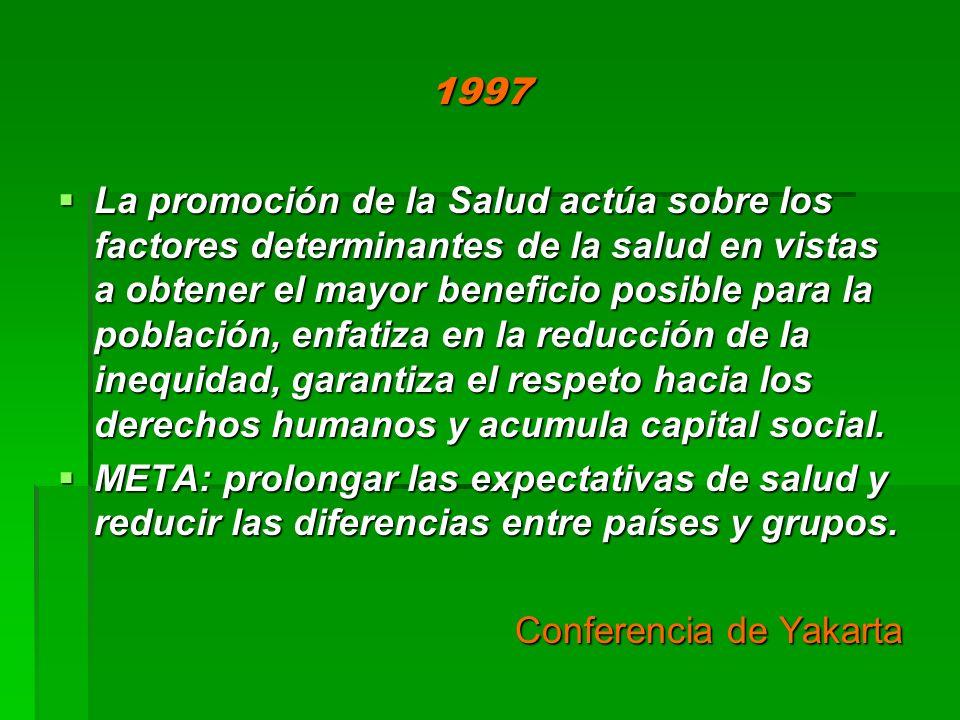 1997 La promoción de la Salud actúa sobre los factores determinantes de la salud en vistas a obtener el mayor beneficio posible para la población, enf