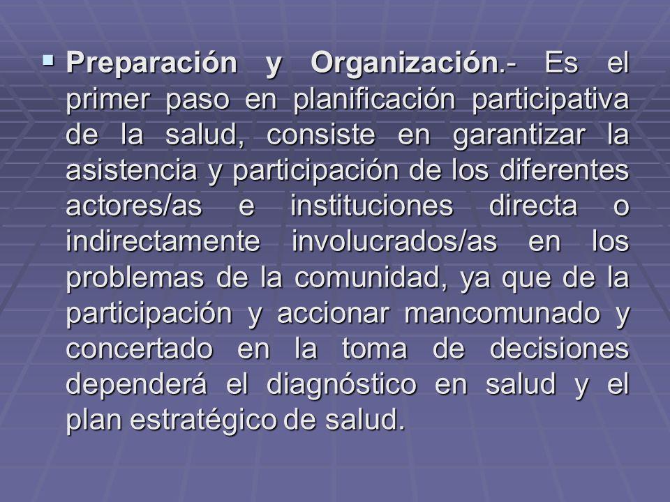 Preparación y Organización.- Es el primer paso en planificación participativa de la salud, consiste en garantizar la asistencia y participación de los diferentes actores/as e instituciones directa o indirectamente involucrados/as en los problemas de la comunidad, ya que de la participación y accionar mancomunado y concertado en la toma de decisiones dependerá el diagnóstico en salud y el plan estratégico de salud.