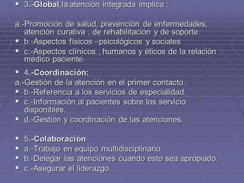 3.-Global,la atención integrada implica : 3.-Global,la atención integrada implica : a.-Promoción de salud, prevención de enfermedades, atención curativa, de rehabilitación y de soporte.