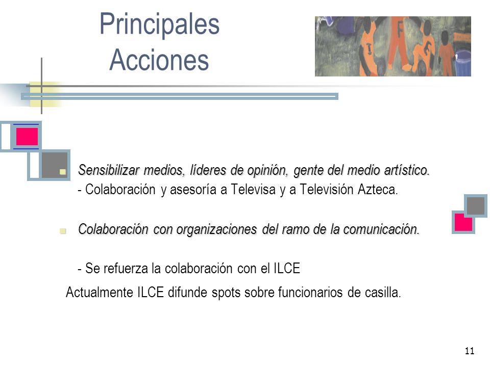 11 Principales Acciones Sensibilizar medios, líderes de opinión, gente del medio artístico. Sensibilizar medios, líderes de opinión, gente del medio a