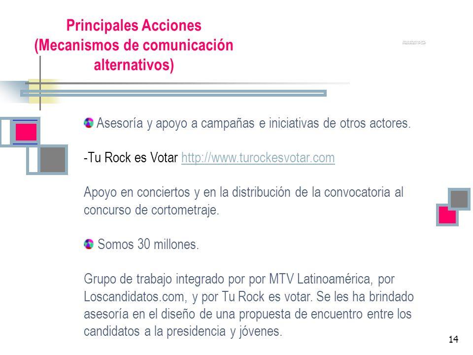 14 Principales Acciones (Mecanismos de comunicación alternativos) Asesoría y apoyo a campañas e iniciativas de otros actores. -Tu Rock es Votar http:/