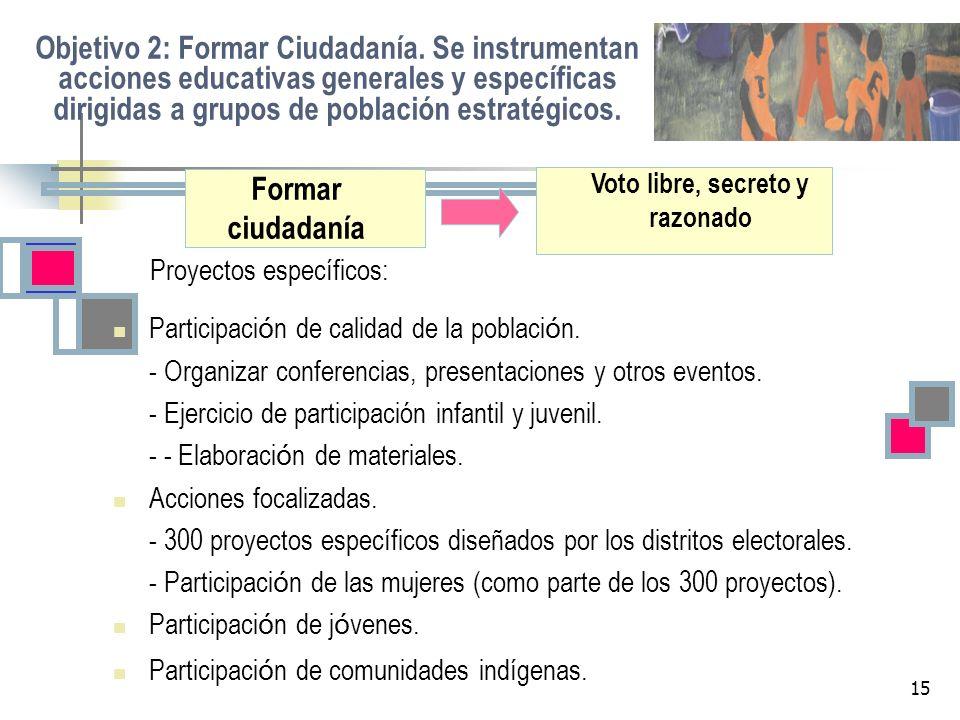 15 Objetivo 2: Formar Ciudadanía. Se instrumentan acciones educativas generales y específicas dirigidas a grupos de población estratégicos. Proyectos