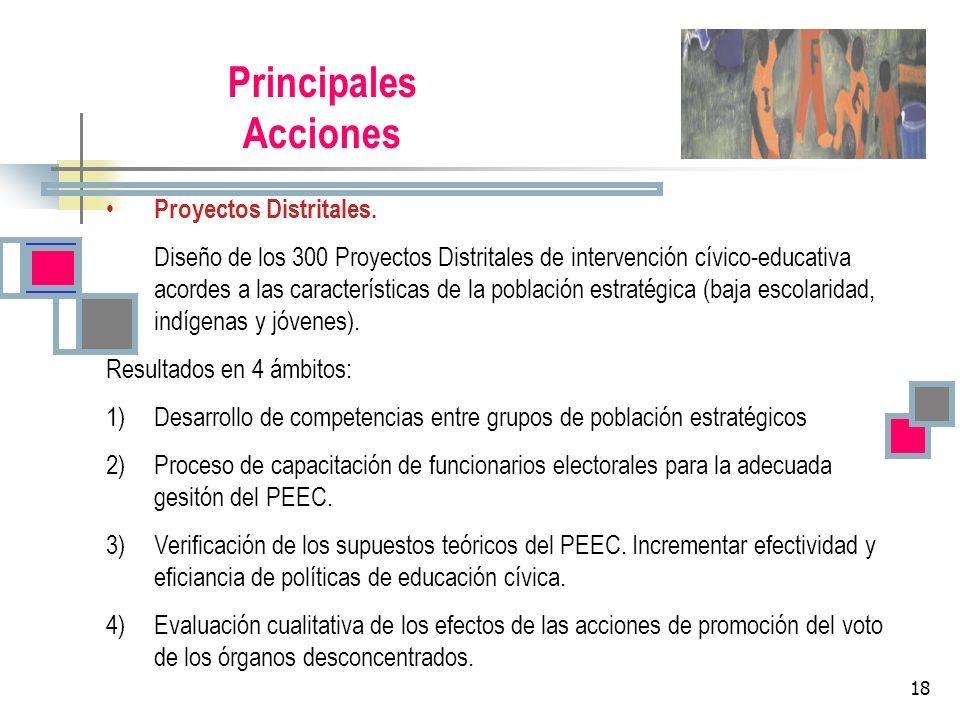 18 Principales Acciones Proyectos Distritales. Diseño de los 300 Proyectos Distritales de intervención cívico-educativa acordes a las características