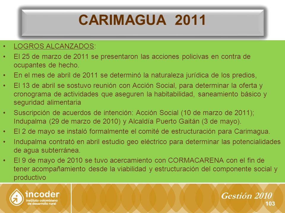 LOGROS ALCANZADOS: El 25 de marzo de 2011 se presentaron las acciones policivas en contra de ocupantes de hecho.