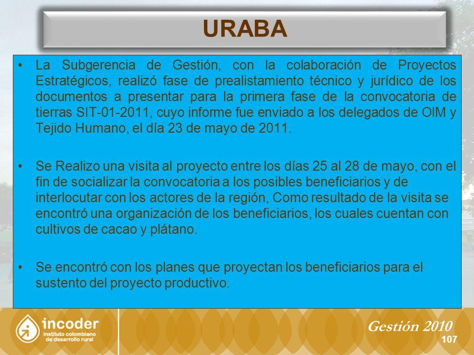 La Subgerencia de Gestión, con la colaboración de Proyectos Estratégicos, realizó fase de prealistamiento técnico y jurídico de los documentos a presentar para la primera fase de la convocatoria de tierras SIT-01-2011, cuyo informe fue enviado a los delegados de OIM y Tejido Humano, el día 23 de mayo de 2011.