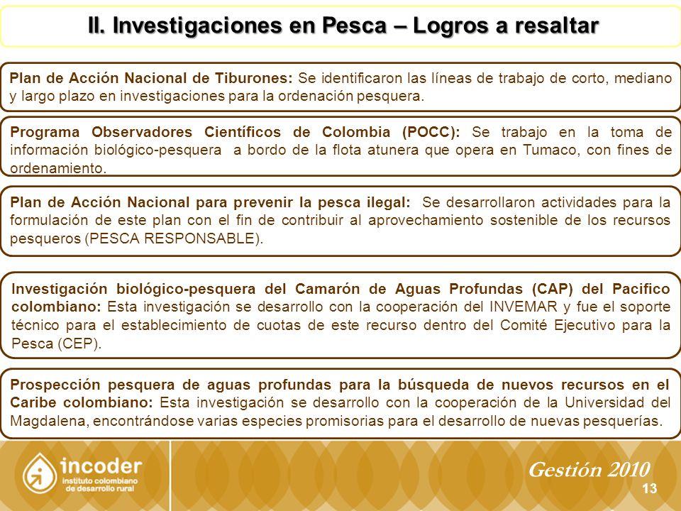 13 II.Investigaciones en Pesca – Logros a resaltar II.
