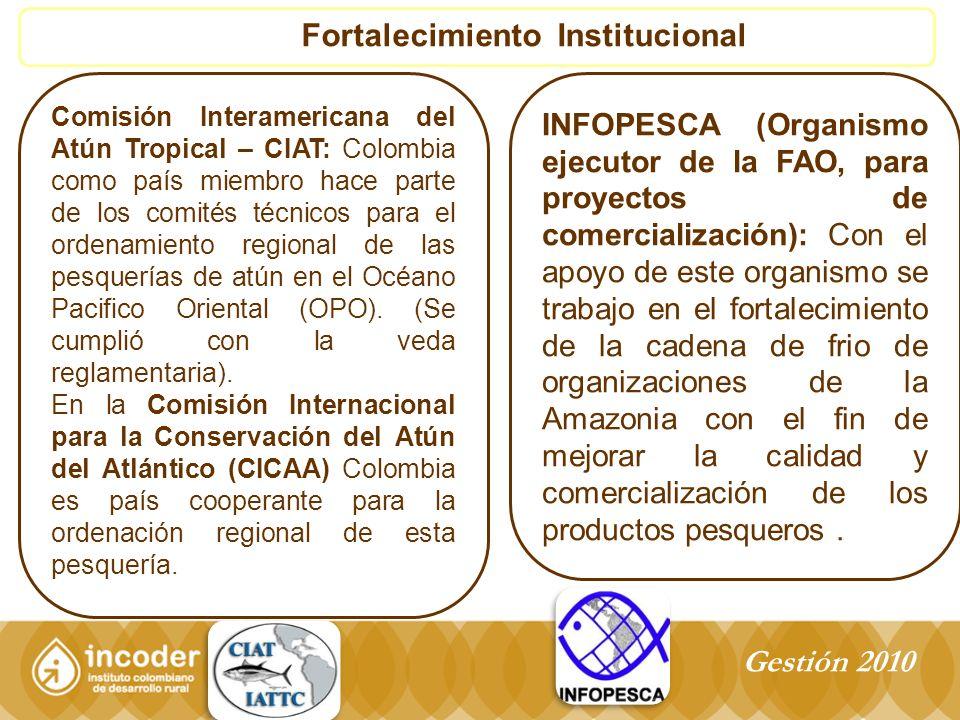 Fortalecimiento Institucional Comisión Interamericana del Atún Tropical – CIAT: Colombia como país miembro hace parte de los comités técnicos para el ordenamiento regional de las pesquerías de atún en el Océano Pacifico Oriental (OPO).