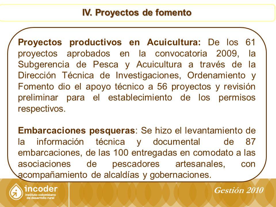 IV. Proyectos de fomento Proyectos productivos en Acuicultura: De los 61 proyectos aprobados en la convocatoria 2009, la Subgerencia de Pesca y Acuicu