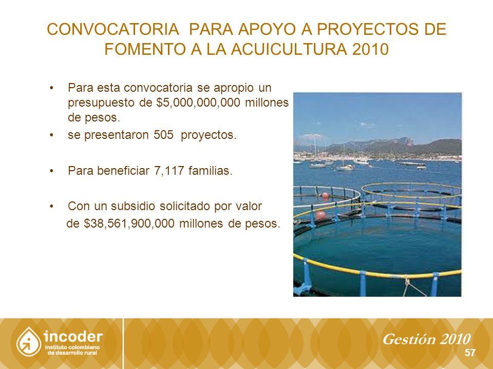CONVOCATORIA PARA APOYO A PROYECTOS DE FOMENTO A LA ACUICULTURA 2010 Para esta convocatoria se apropio un presupuesto de $5,000,000,000 millones de pesos.