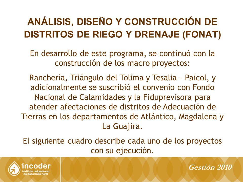 ANÁLISIS, DISEÑO Y CONSTRUCCIÓN DE DISTRITOS DE RIEGO Y DRENAJE (FONAT) En desarrollo de este programa, se continuó con la construcción de los macro proyectos: Ranchería, Triángulo del Tolima y Tesalia – Paicol, y adicionalmente se suscribió el convenio con Fondo Nacional de Calamidades y la Fiduprevisora para atender afectaciones de distritos de Adecuación de Tierras en los departamentos de Atlántico, Magdalena y La Guajira.