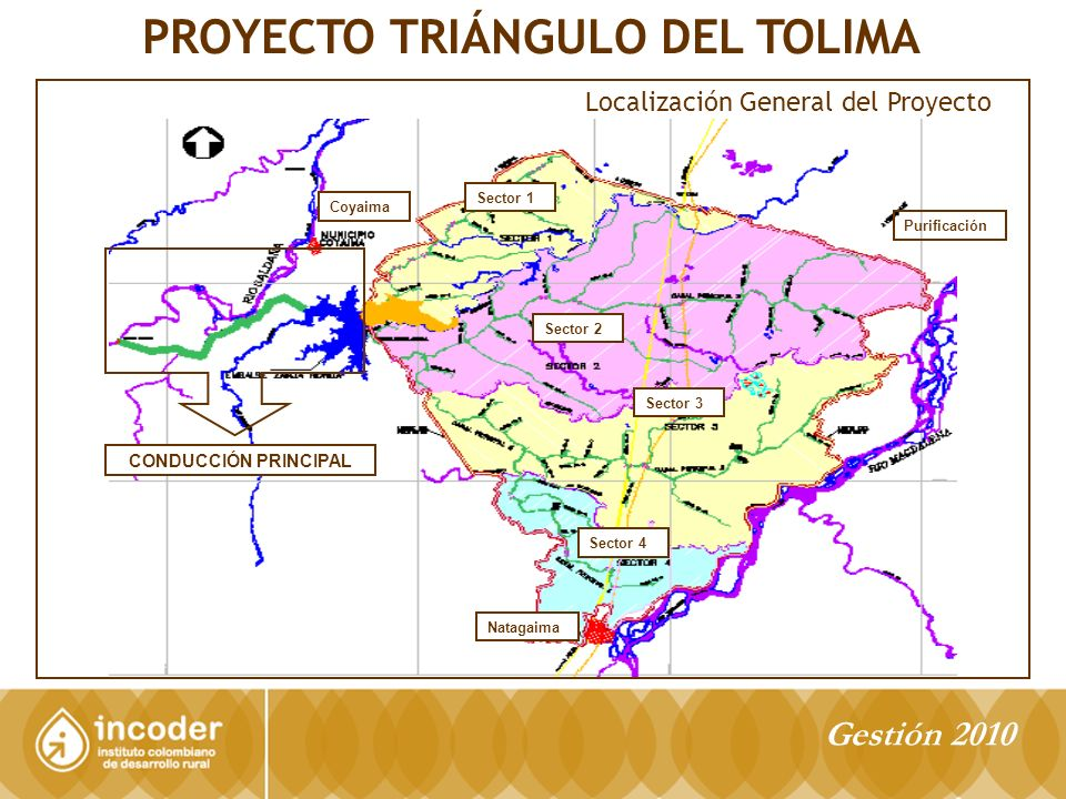 Sector 1 Coyaima Natagaima Sector 2 Sector 3 Sector 4 CONDUCCIÓN PRINCIPAL Purificación PROYECTO TRIÁNGULO DEL TOLIMA Localización General del Proyecto Gestión 2010