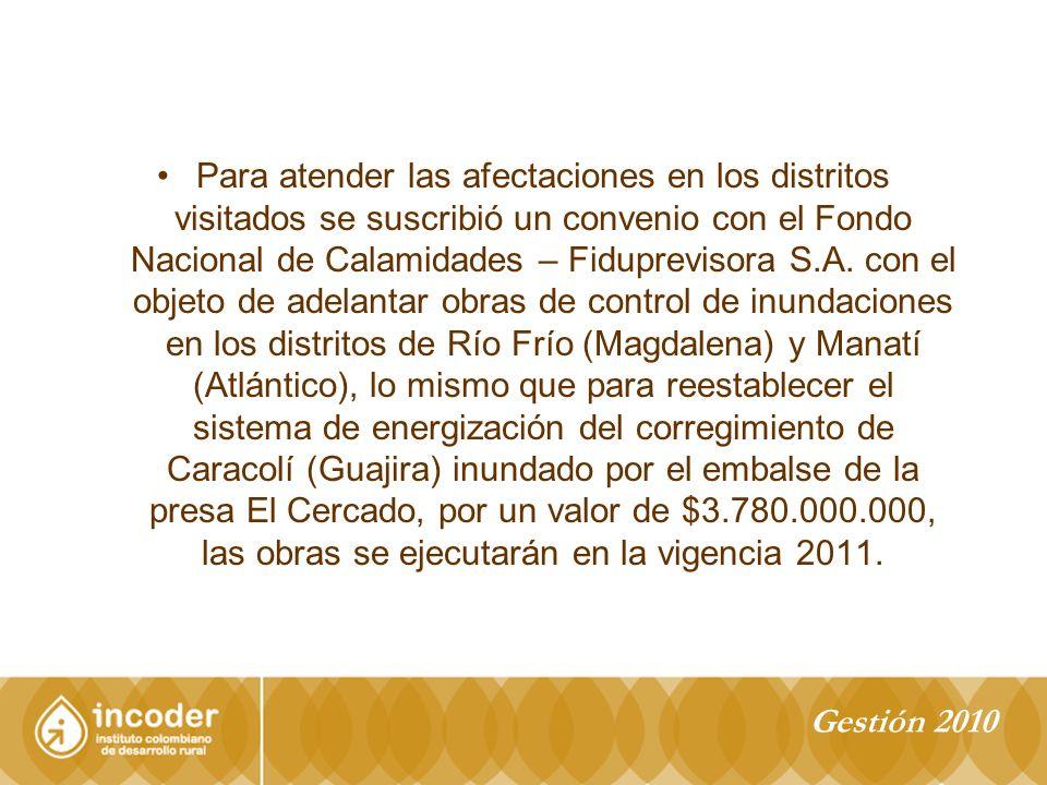 Para atender las afectaciones en los distritos visitados se suscribió un convenio con el Fondo Nacional de Calamidades – Fiduprevisora S.A.