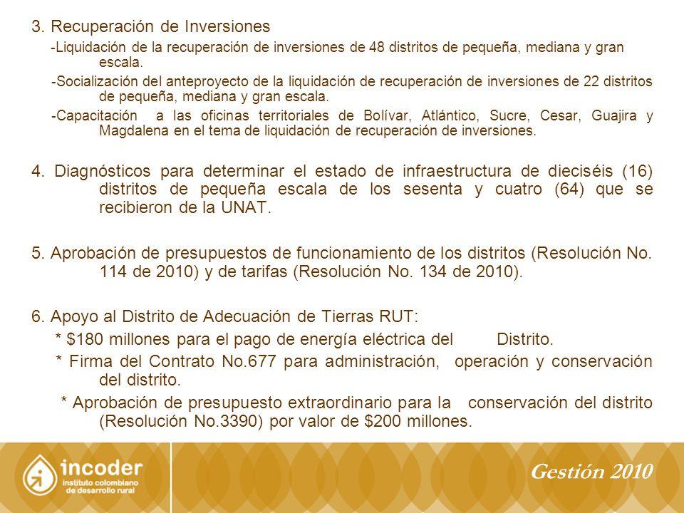 3. Recuperación de Inversiones -Liquidación de la recuperación de inversiones de 48 distritos de pequeña, mediana y gran escala. -Socialización del an