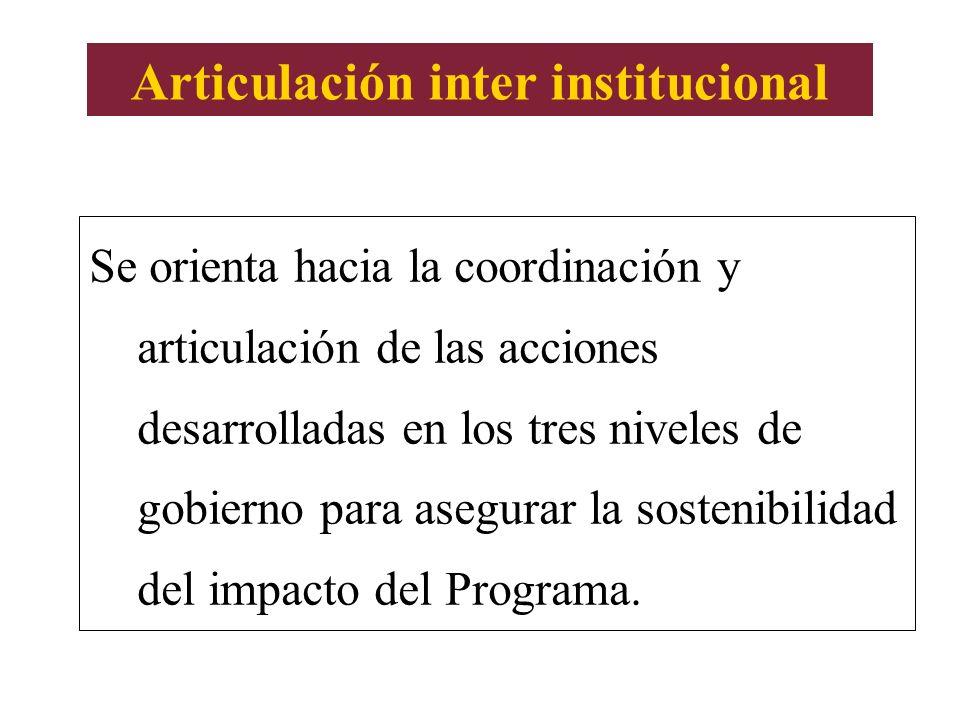 Articulación inter institucional Se orienta hacia la coordinación y articulación de las acciones desarrolladas en los tres niveles de gobierno para as