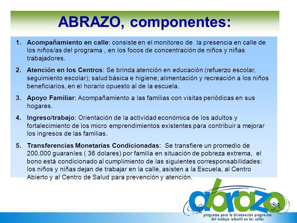 ABRAZO, componentes: 1.Acompañamiento en calle: consiste en el monitoreo de la presencia en calle de los niños/as del programa, en los focos de concen