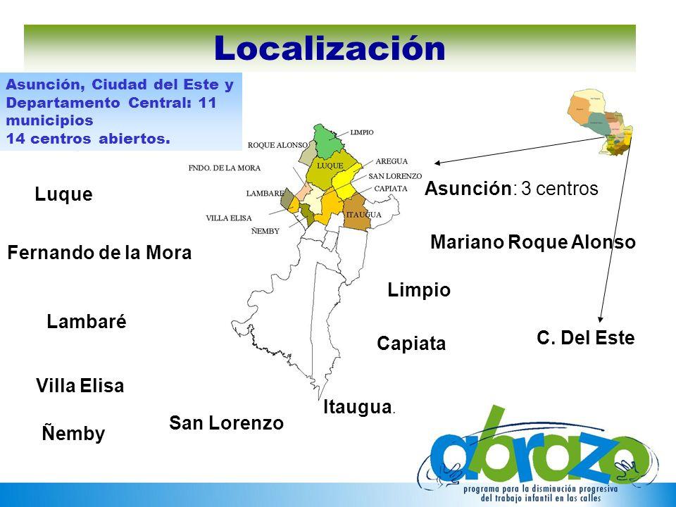 Asunción: 3 centros San Lorenzo Limpio Capiata Itaugua. Mariano Roque Alonso Fernando de la Mora Luque Lambaré Villa Elisa Asunción, Ciudad del Este y