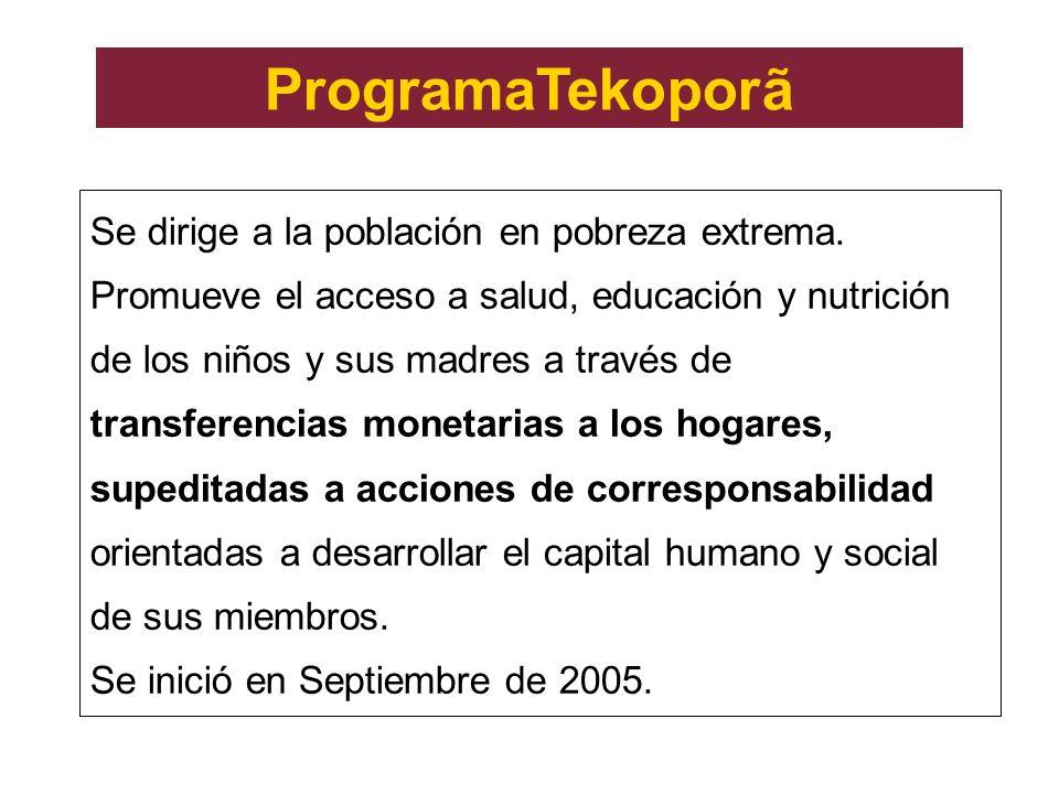 ProgramaTekoporã Se dirige a la población en pobreza extrema. Promueve el acceso a salud, educación y nutrición de los niños y sus madres a través de