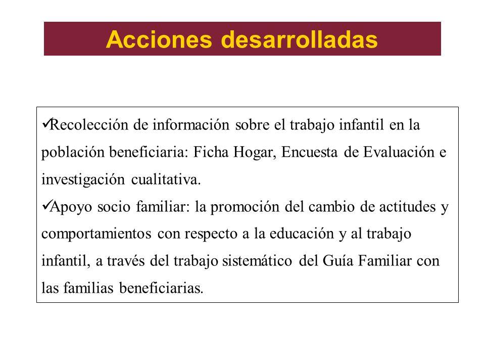 Acciones desarrolladas Recolección de información sobre el trabajo infantil en la población beneficiaria: Ficha Hogar, Encuesta de Evaluación e invest