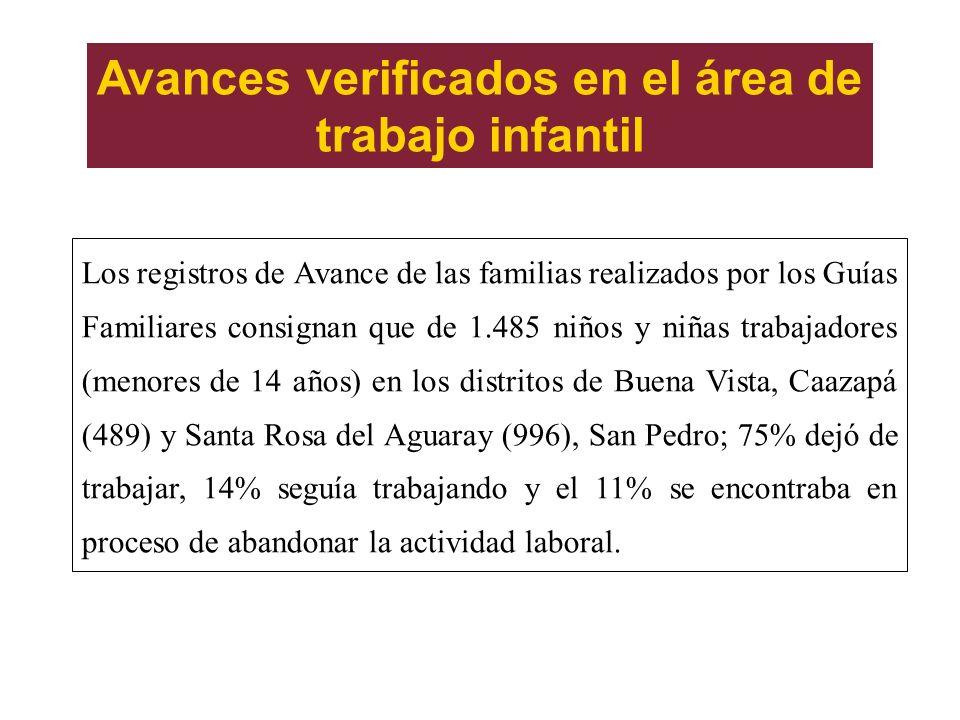 Avances verificados en el área de trabajo infantil Los registros de Avance de las familias realizados por los Guías Familiares consignan que de 1.485