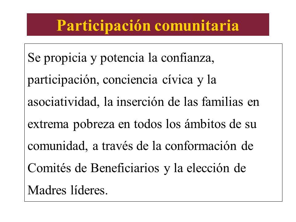 Participación comunitaria Se propicia y potencia la confianza, participación, conciencia cívica y la asociatividad, la inserción de las familias en ex