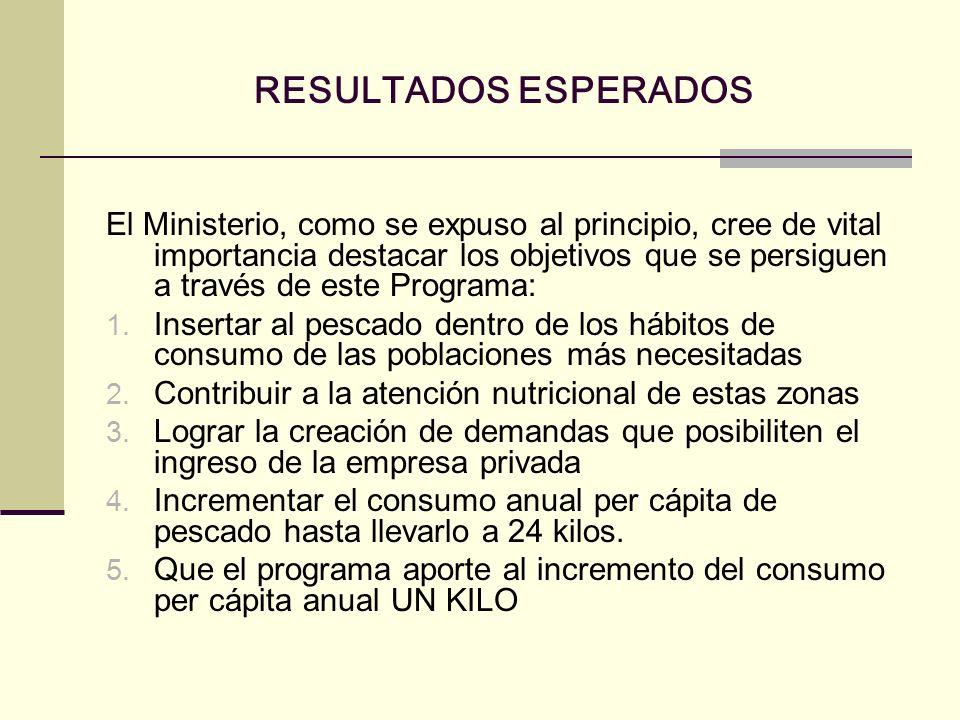 RESULTADOS ESPERADOS El Ministerio, como se expuso al principio, cree de vital importancia destacar los objetivos que se persiguen a través de este Pr