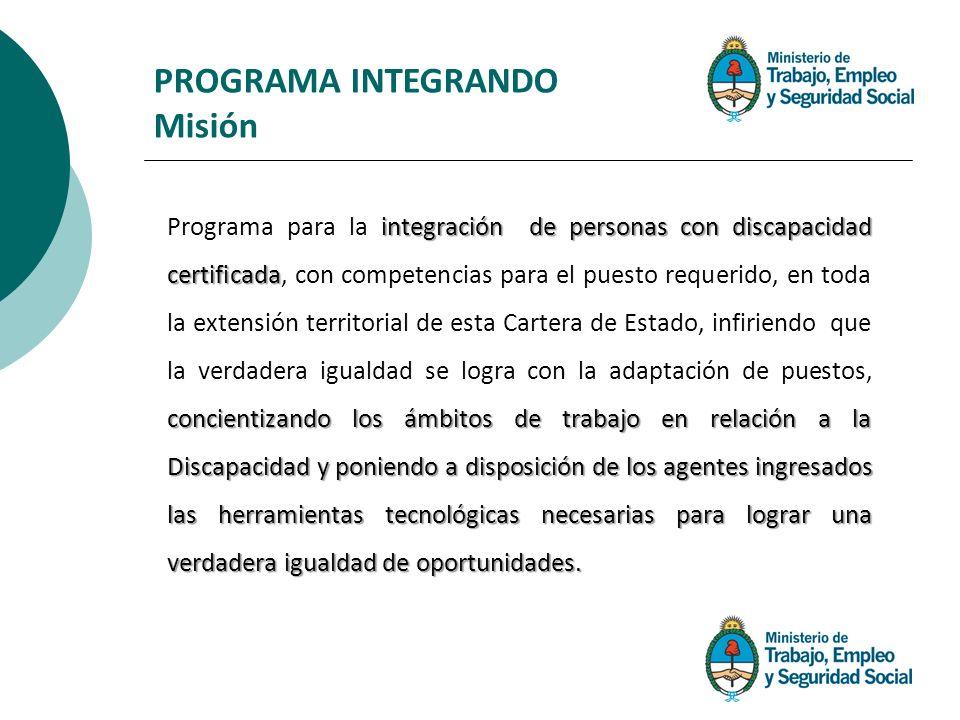 integración de personas con discapacidad certificada concientizando los ámbitos de trabajo en relación a la Discapacidad y poniendo a disposición de l