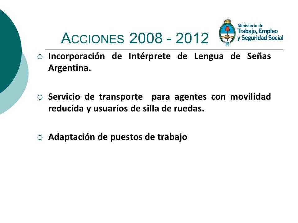 A CCIONES 2008 - 2012 Incorporación de Intérprete de Lengua de Señas Argentina. Servicio de transporte para agentes con movilidad reducida y usuarios