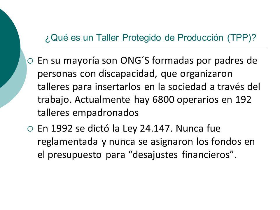 ¿Qué es un Taller Protegido de Producción (TPP)? En su mayoría son ONG´S formadas por padres de personas con discapacidad, que organizaron talleres pa