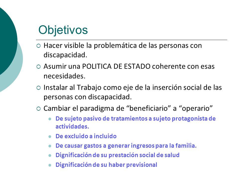 Objetivos Hacer visible la problemática de las personas con discapacidad. Asumir una POLITICA DE ESTADO coherente con esas necesidades. Instalar al Tr