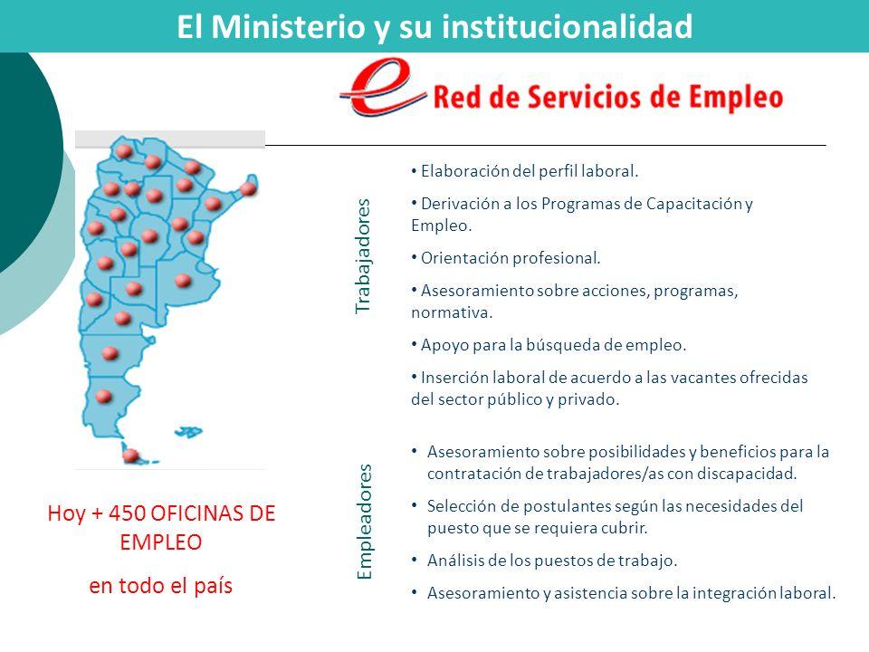 Hoy + 450 OFICINAS DE EMPLEO en todo el país Elaboración del perfil laboral. Derivación a los Programas de Capacitación y Empleo. Orientación profesio