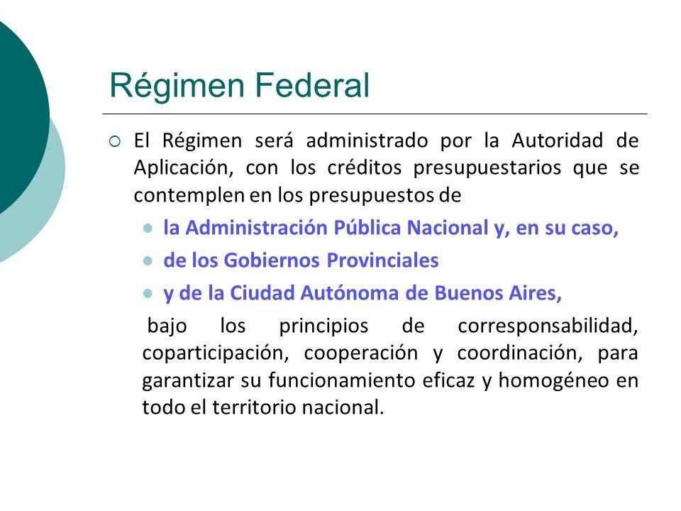 Régimen Federal El Régimen será administrado por la Autoridad de Aplicación, con los créditos presupuestarios que se contemplen en los presupuestos de