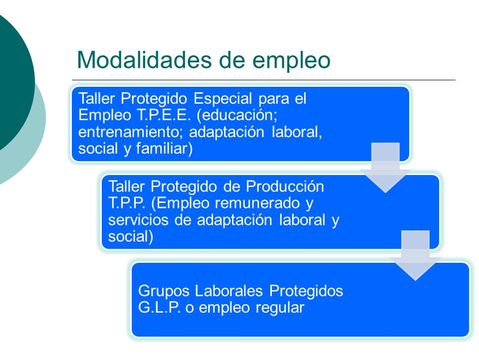 Modalidades de empleo Taller Protegido Especial para el Empleo T.P.E.E. (educación; entrenamiento; adaptación laboral, social y familiar) Taller Prote