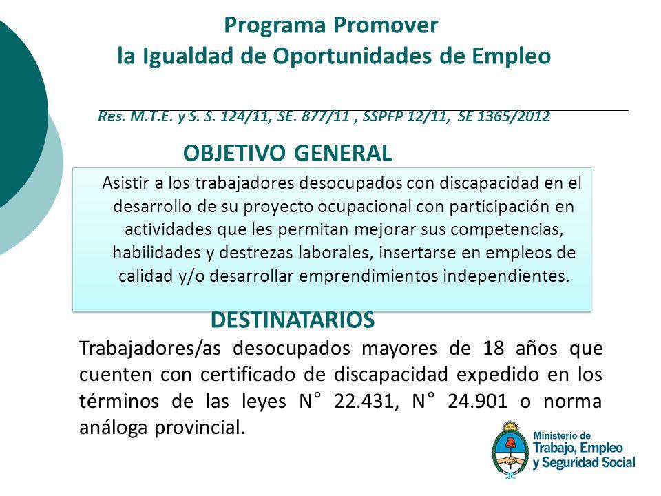 Asistir a los trabajadores desocupados con discapacidad en el desarrollo de su proyecto ocupacional con participación en actividades que les permitan