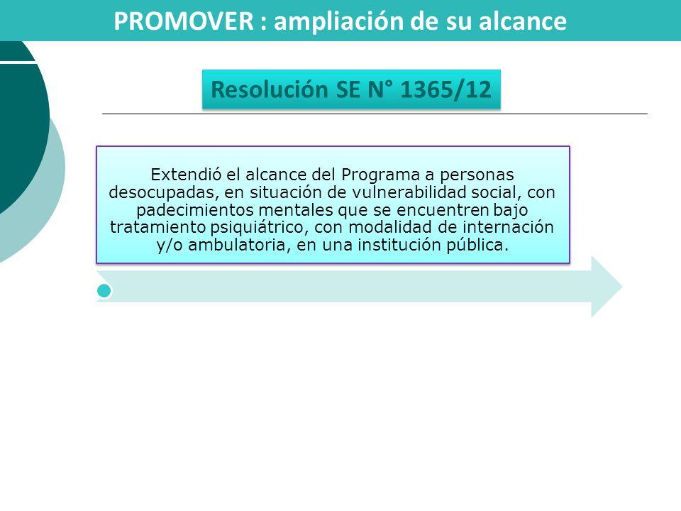PROMOVER : ampliación de su alcance Resolución SE N° 1365/12 Extendió el alcance del Programa a personas desocupadas, en situación de vulnerabilidad s