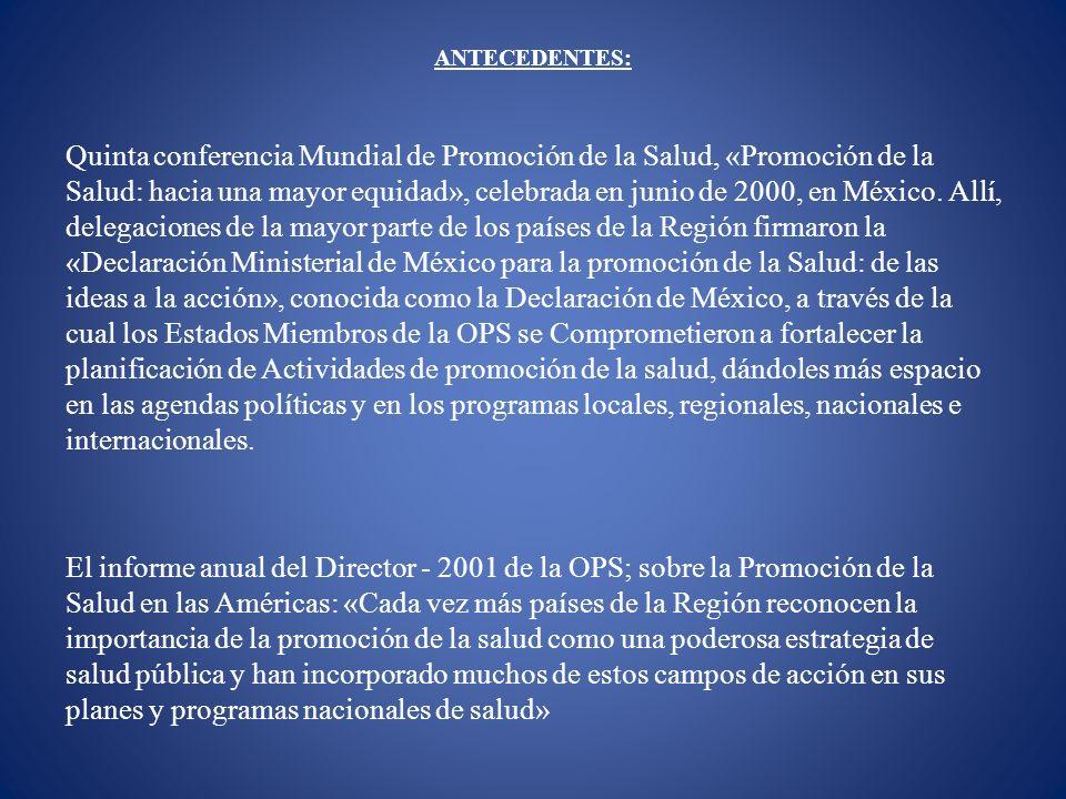 ANTECEDENTES: Quinta conferencia Mundial de Promoción de la Salud, «Promoción de la Salud: hacia una mayor equidad», celebrada en junio de 2000, en Mé