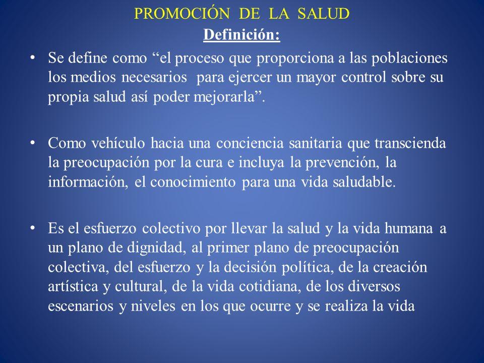 PROMOCIÓN DE LA SALUD Definición: Se define como el proceso que proporciona a las poblaciones los medios necesarios para ejercer un mayor control sobr