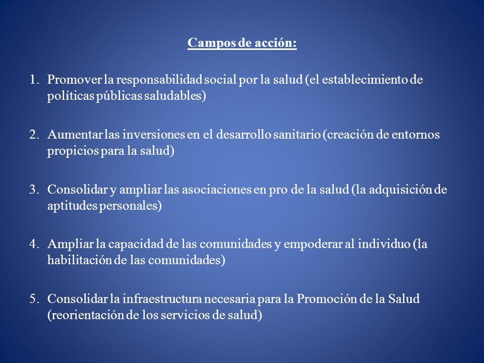 Campos de acción: 1.Promover la responsabilidad social por la salud (el establecimiento de políticas públicas saludables) 2.Aumentar las inversiones e
