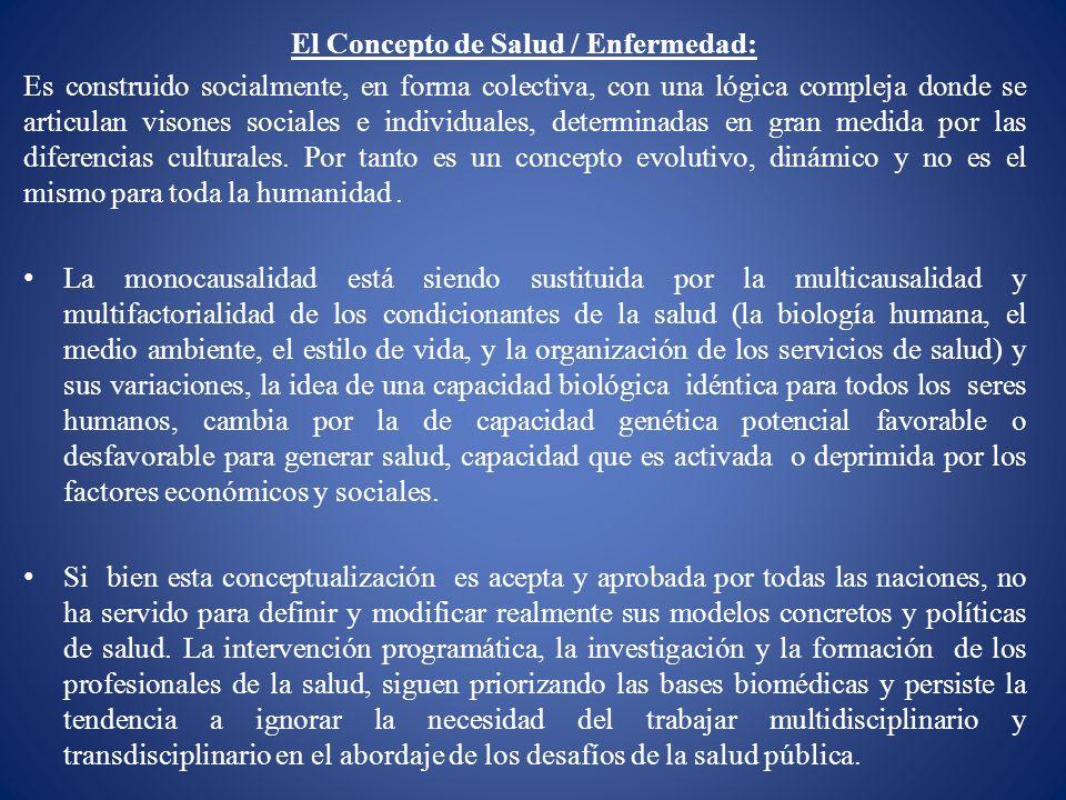 El Concepto de Salud / Enfermedad: Es construido socialmente, en forma colectiva, con una lógica compleja donde se articulan visones sociales e indivi
