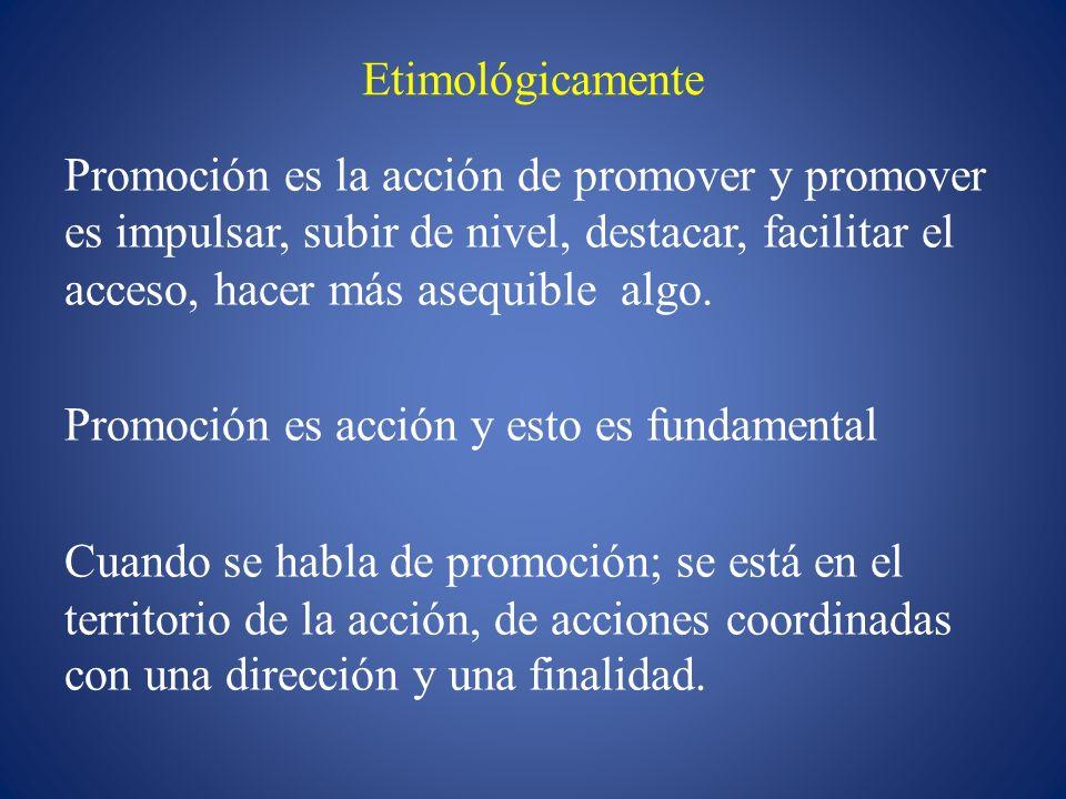 Etimológicamente Promoción es la acción de promover y promover es impulsar, subir de nivel, destacar, facilitar el acceso, hacer más asequible algo. P