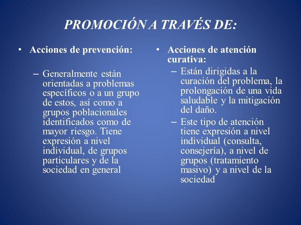 PROMOCIÓN A TRAVÉS DE: Acciones de prevención: – Generalmente están orientadas a problemas específicos o a un grupo de estos, así como a grupos poblac