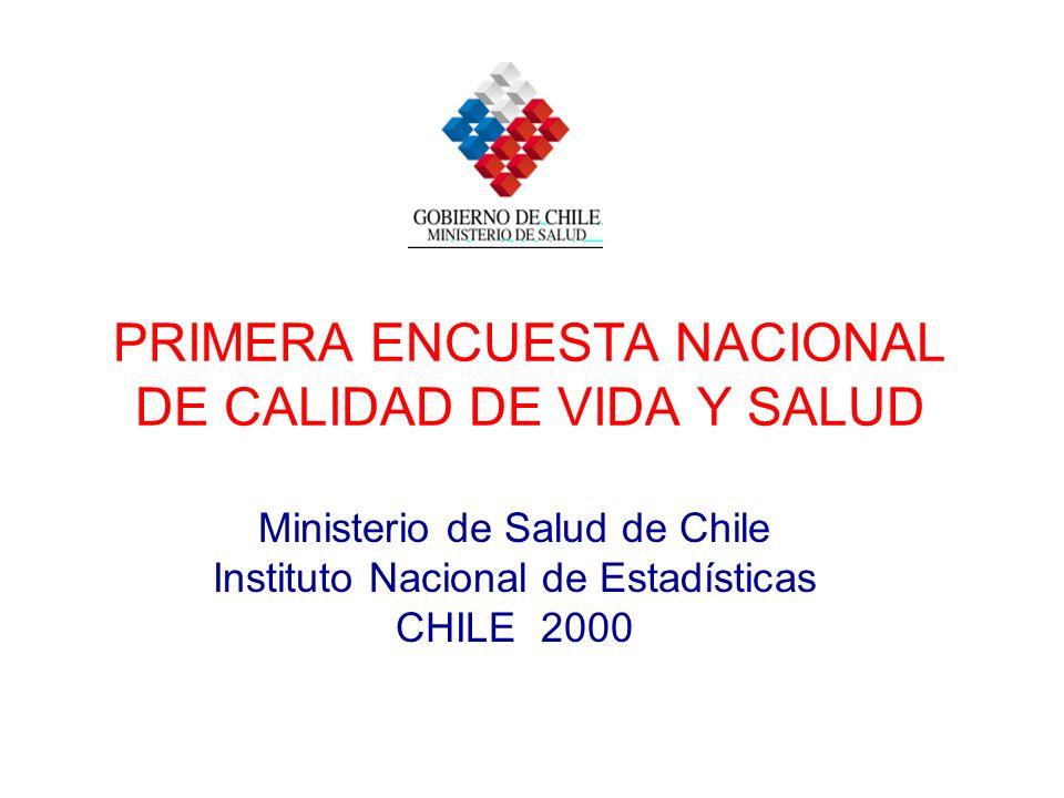 PRIMERA ENCUESTA NACIONAL DE CALIDAD DE VIDA Y SALUD Ministerio de Salud de Chile Instituto Nacional de Estadísticas CHILE 2000