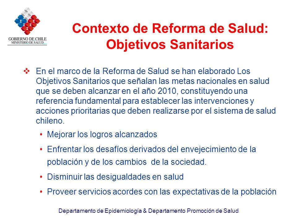 Departamento de Epidemiología & Departamento Promoción de Salud Contexto de Reforma de Salud: Objetivos Sanitarios En el marco de la Reforma de Salud