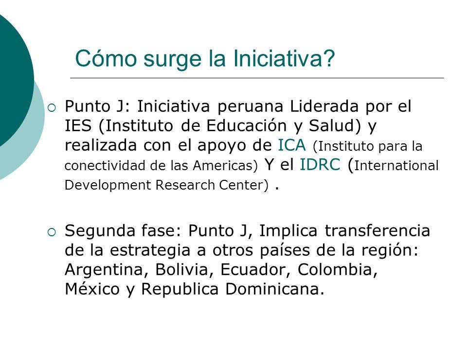 Cómo surge la Iniciativa? Punto J: Iniciativa peruana Liderada por el IES (Instituto de Educación y Salud) y realizada con el apoyo de ICA (Instituto