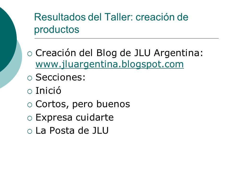 Resultados del Taller: creación de productos Creación del Blog de JLU Argentina: www.jluargentina.blogspot.com www.jluargentina.blogspot.com Secciones